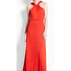 Ann Taylor Red Orange Maxi Dress Size 10 LONG